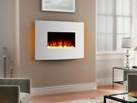 Endeavour Fires Egton White Wall Mounted Electric Fire, White Curved Glass