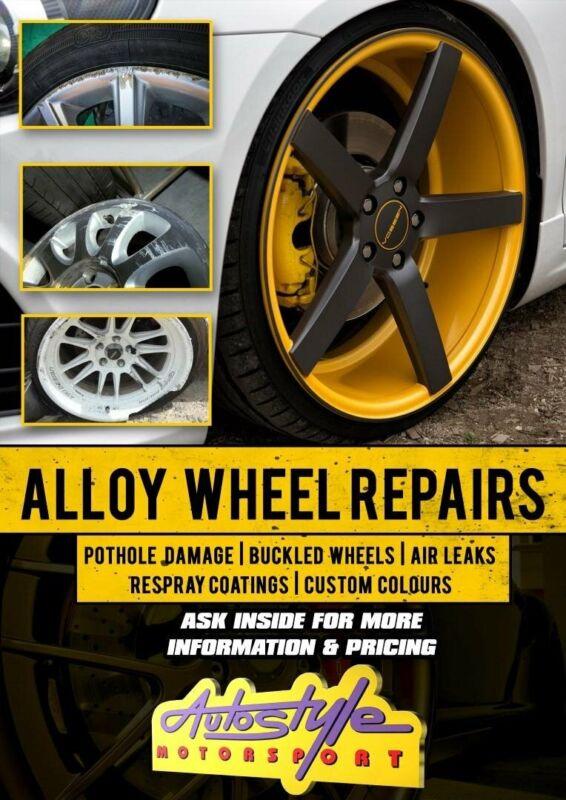 Alloy Wheel Repairs, pothole damage, buckled wheels, air leaks, respray coatings, custom colors. We
