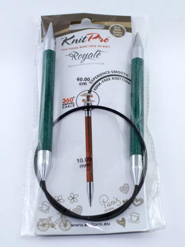 KnitPro rundstrick aiguille fixe royale 360 ° rotative corde 3-12mm 60cm+80cm NEUF