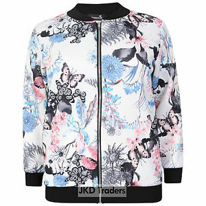 Nouvelle Collection Womens Plus Size Bomber Jacket Ladies Butterfly Floral Print Ribbed Long Sleeves Casual Coat White US Size 16