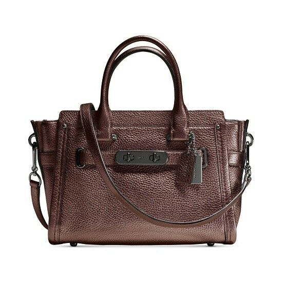048216389 Coach 34816 Pebbled Leather Bronze Swagger 27 Satchel Purse for sale online  | eBay