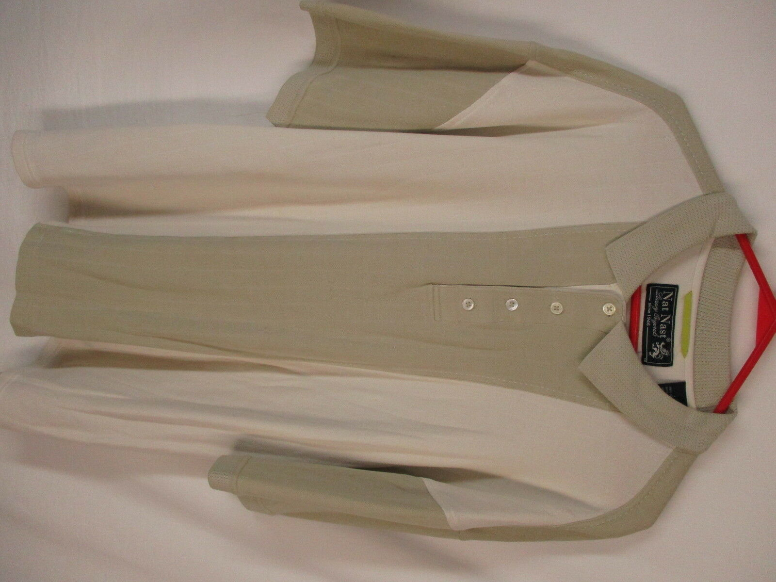Nat Nast Mens Beige Silk Cotton Polo Shirt L