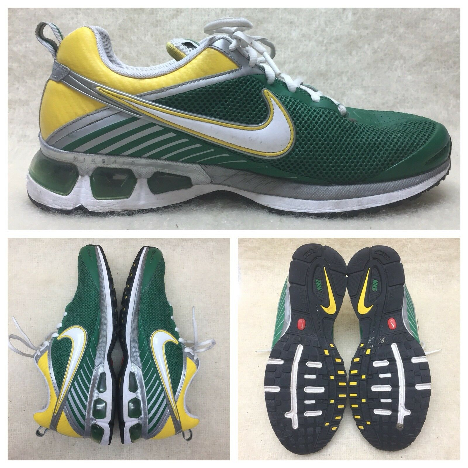 Men's Nike Air Max Agitate green yellow white running shoes 376983-310 SZ 11.5