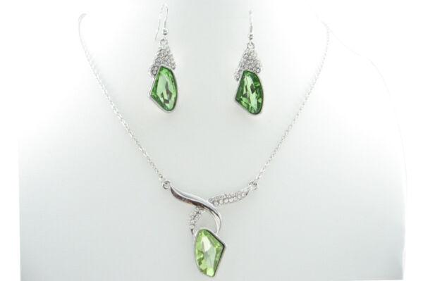 "18"" Platinum Plated Scissors Fans Artificial Crystal Pendant & Earrings Sets"