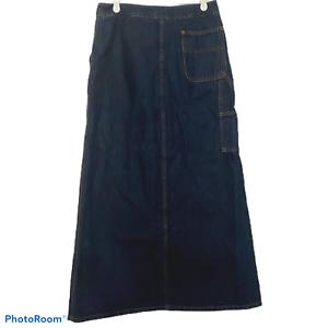 Vtg-Forenza-Size-6-Long-Denim-Jean-Maxi-Skirt-Modest-Carpenter-Pockets-Straight