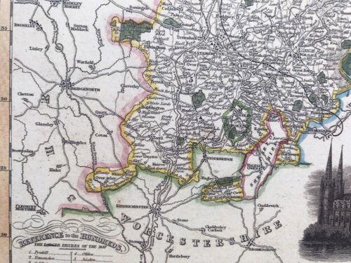 Historical 1840 Pigot Reprint Old Victorian Colour Map Staffordshire Antique
