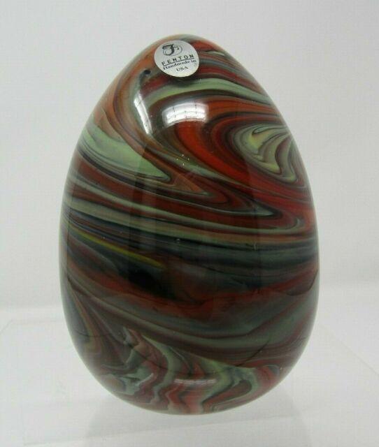 Fenton Dave Fetty Swirl Crayons Blown Egg 276/1200 w/ Sticker Red, Brown