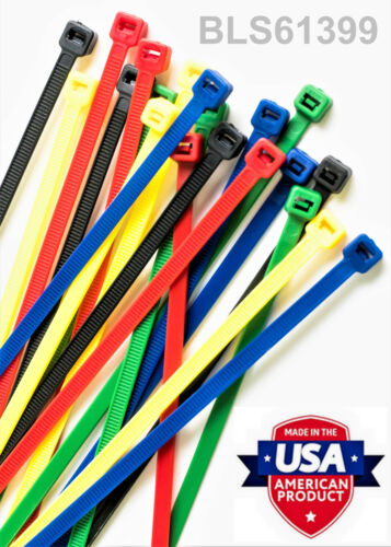"100 USA Made TOUGH TIES 6/"" inch 40lb Nylon Tie Wraps Wire Cable Zip Ties Blue"