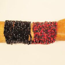 Set of 2 Red Black Multi Strand Handmade Cleo Stretch Seed Bead Bracelets