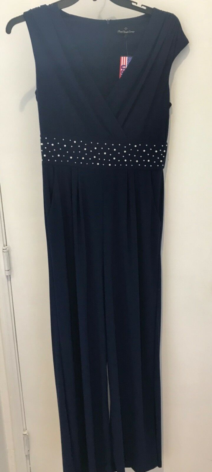 Ronnie Nicole Evenings Women's Navy size 12 Sleeveless Jumpsuit Romper NWT
