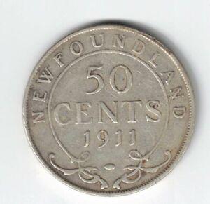 NEWFOUNDLAND-1911-50-CENTS-HALF-DOLLAR-KING-GEORGE-V-STERLING-SILVER-COIN