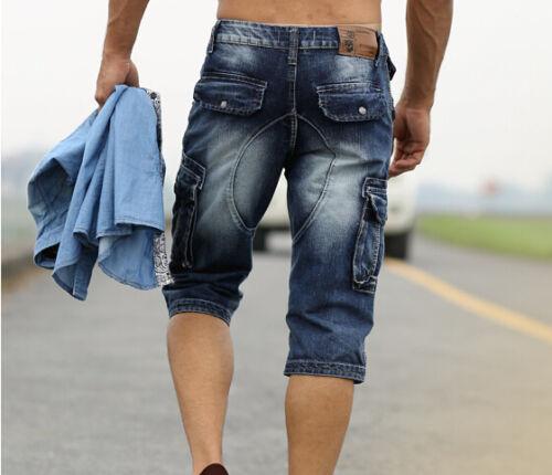 pantaloncini da 40 jeans Cargo Size tasca New Casual blu Mens passeggio Fashion 28 nx1ScFvFP