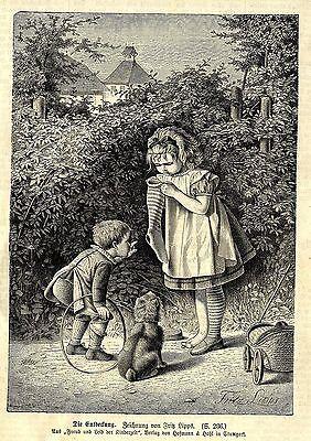 Fritz Lipps * Die Entdeckung * Reizendes Kindermotiv * Antique Print 1878