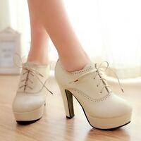 Womens Faux Leather Lace Up Platform Ankle Boots Ladies Street Ladies Shoes Size