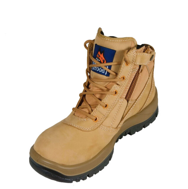 6c2253b585f Mongrel Work Boots Steel Toe Safety Zip Sider Lace Up Ankle Wheat Working  261050
