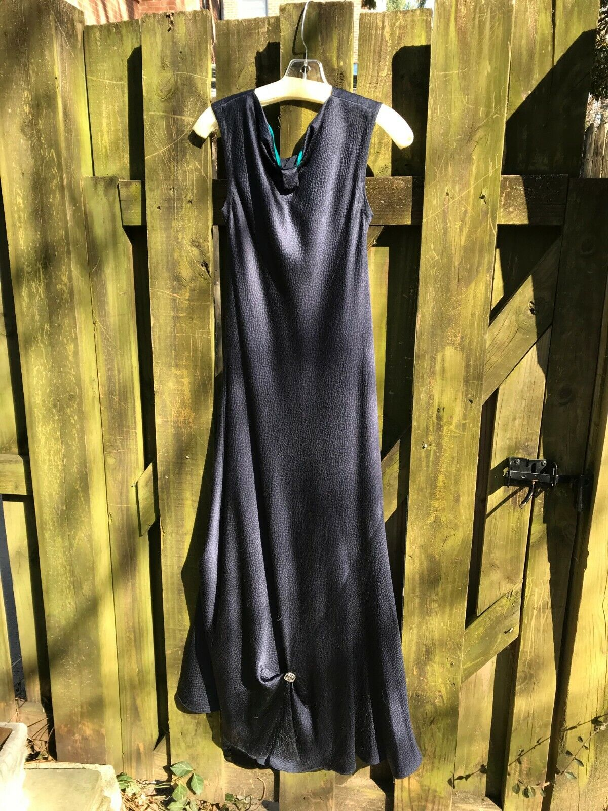 Navy blue silk Mother of the Bride dress by Carol Peretz.