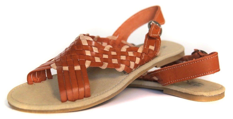 MEXICAN SANDALS Women's OPEN Toe orange CREME with Buckle Flats Huarache Sandal