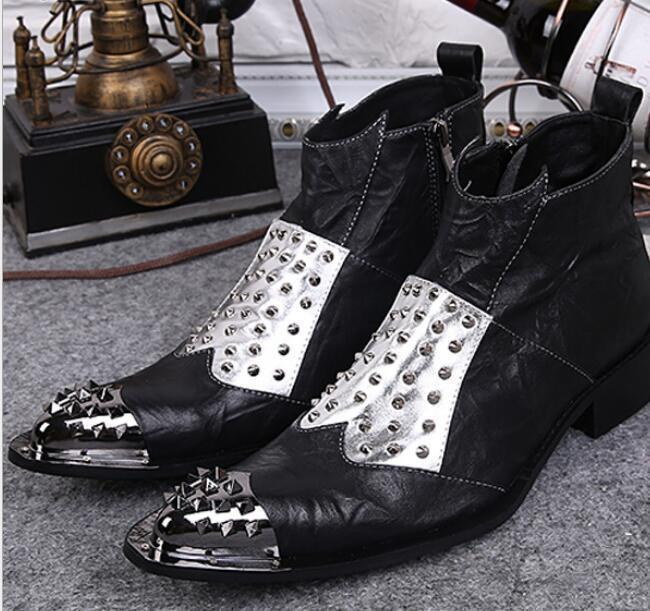 Men Black Rivet Leather Pointed Toe Punk Ankle Boots Casual Shoes Nightclub A105
