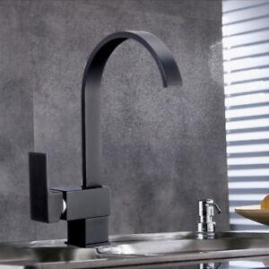 Kuechenarmatur-360-Wasserhahn-Kueche-Spueltischarmatur-Schwarz-Mischbatterie-Bad