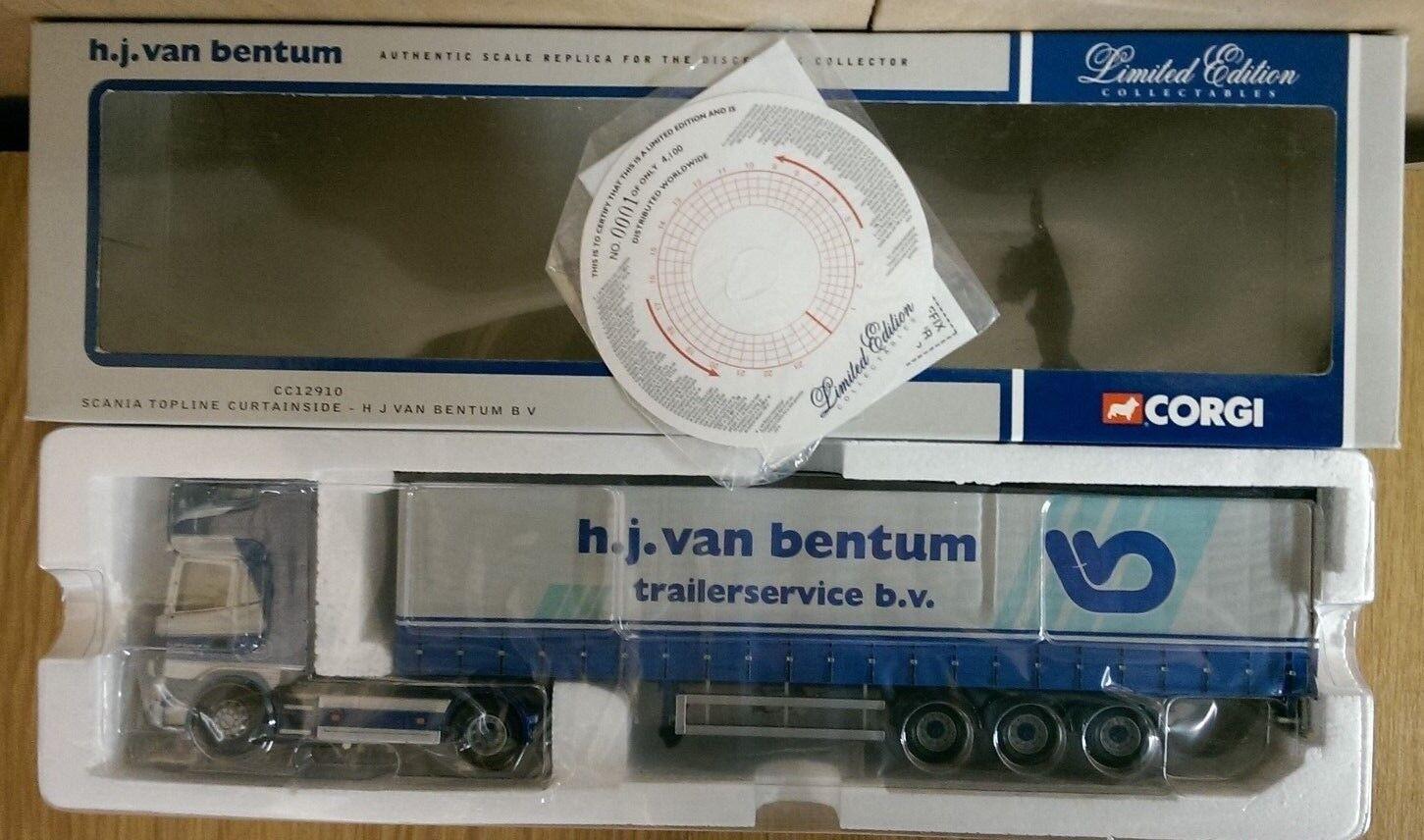 Corgi CC12910 Scania Topline Curtainside H.J. Van Bentum Ltd Ed No. 0001 of 4100