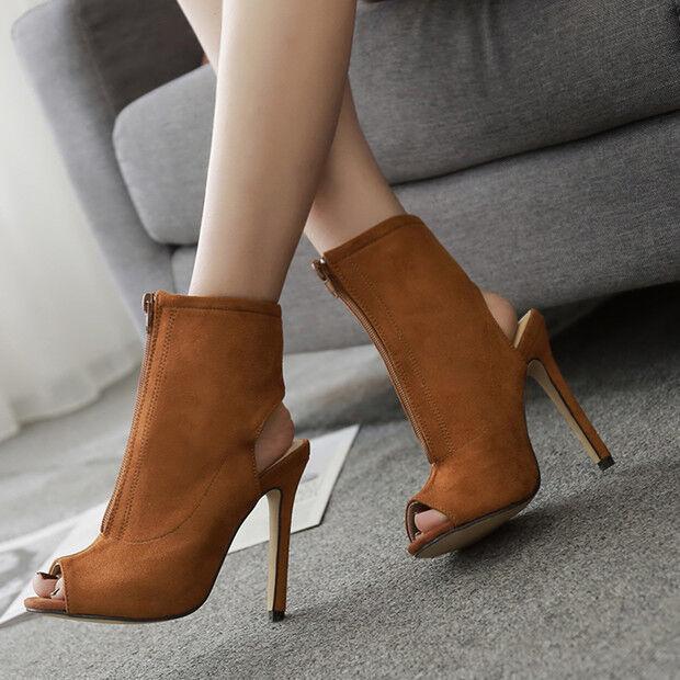 Sandali bottes estivi tacco stiletto 11 cm beige simil pelle eleganti 9715