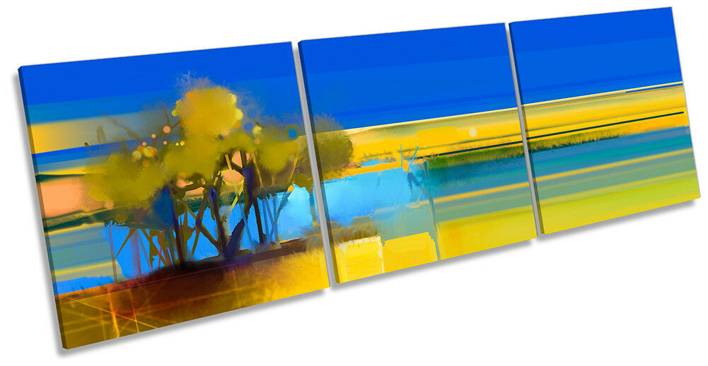 Blau Landscape Abstract Gelb Bild CANVAS Wand Kunst Triple Drucken