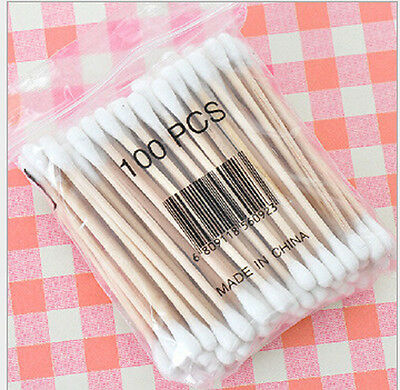 100x Double-head Wooden Cotton Swab Tip For Medical Cure Health Make-up Stick d6