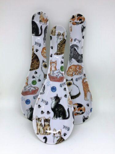 BN Porcelain Spoon Rest Uk Seller Cat Gift hand-decorated Cat Chintz Design