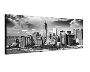 150x50cm panoramabild schwarz weiss manhattan new york skyline sonnenuntergang ebay. Black Bedroom Furniture Sets. Home Design Ideas