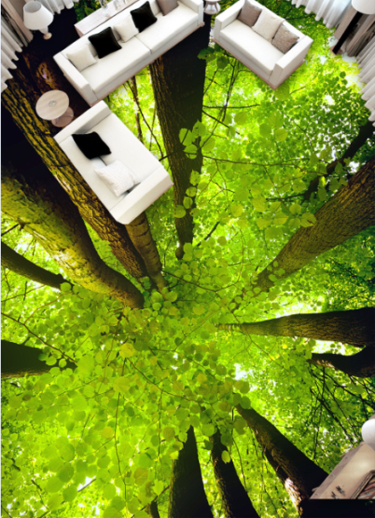 3D Grün Leaves Forest 7 Floor WallPaper Murals Wall Print Decal AJ WALLPAPER US