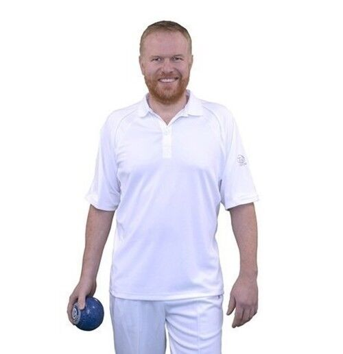 Taylor Mens Gents Ace XV1 Bowlswear Bowls Clothing White Polo T-shirt 676