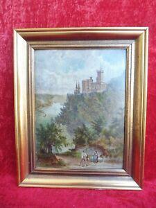 Very OLD PAINTING, Landscape/Castle on the Rhine: Castle Stolzenfels in Koblenz
