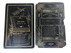 Mr. & Mrs. James Chandler 1800s Memorial Funeral Remembrance Cards 1888 & 1893