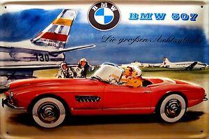 BMW-507-AEROPUERTO-Letrero-De-Metal-3d-EN-RELIEVE-Arqueado-CARTEL-LATA-20-x-30