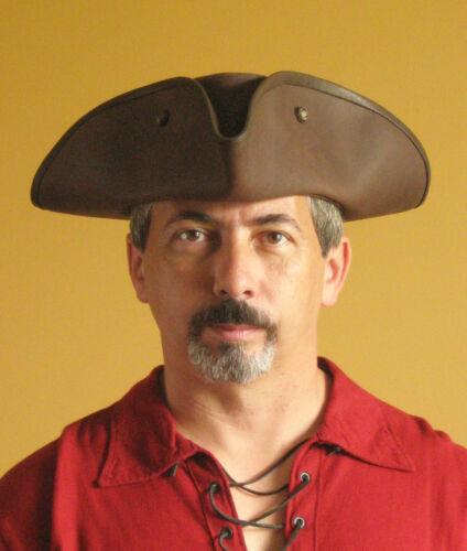 Pirate Hat Medieval Celtic Renaissance SCA Larp Tricorn Triangle Leather Hat