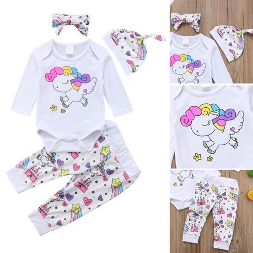US 3PCS Newborn Baby Girl Unicorn Clothes Romper Pants Legging Hat Outfits Set