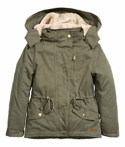 competitive price 68006 7b8d8 Details zu NEU H&M Parka Jacke Winterjacke Winterparka Teddyfell khaki GR  128 134