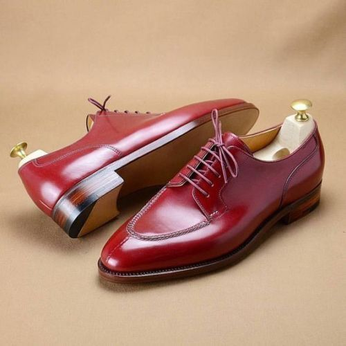 Mens Handmade Shoes Shiny Burgundy Leather Lace Up Formal Dress Casual Wear Boot