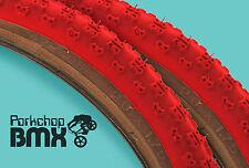 "Kenda Comp 3 III old school BMX skinwall gumwall tires 20"" X 1.75"" RED (PAIR)"