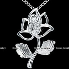 Rose Flower Silver Pendant Necklace Crystal Costume Jewelry Gifts for Her Women