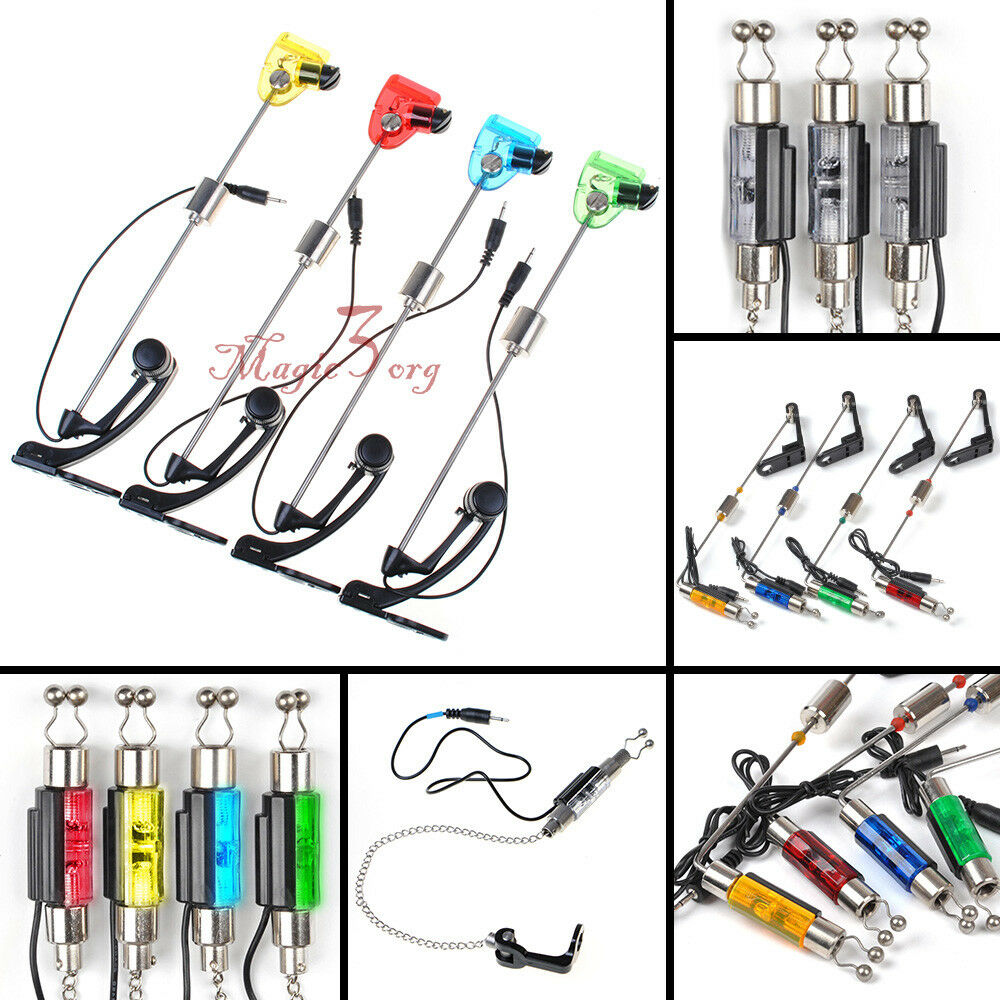 Lot 3 4 Carp Fishing Bite Alarm LED Swingers Hangers Indicator Chain Illuminated