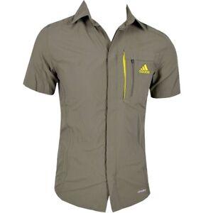 Adidas-HT-Wick-Shirt-Herren-Outdoor-Hemd-Wanderhemd-Funktionshemd-kurzarm-khaki