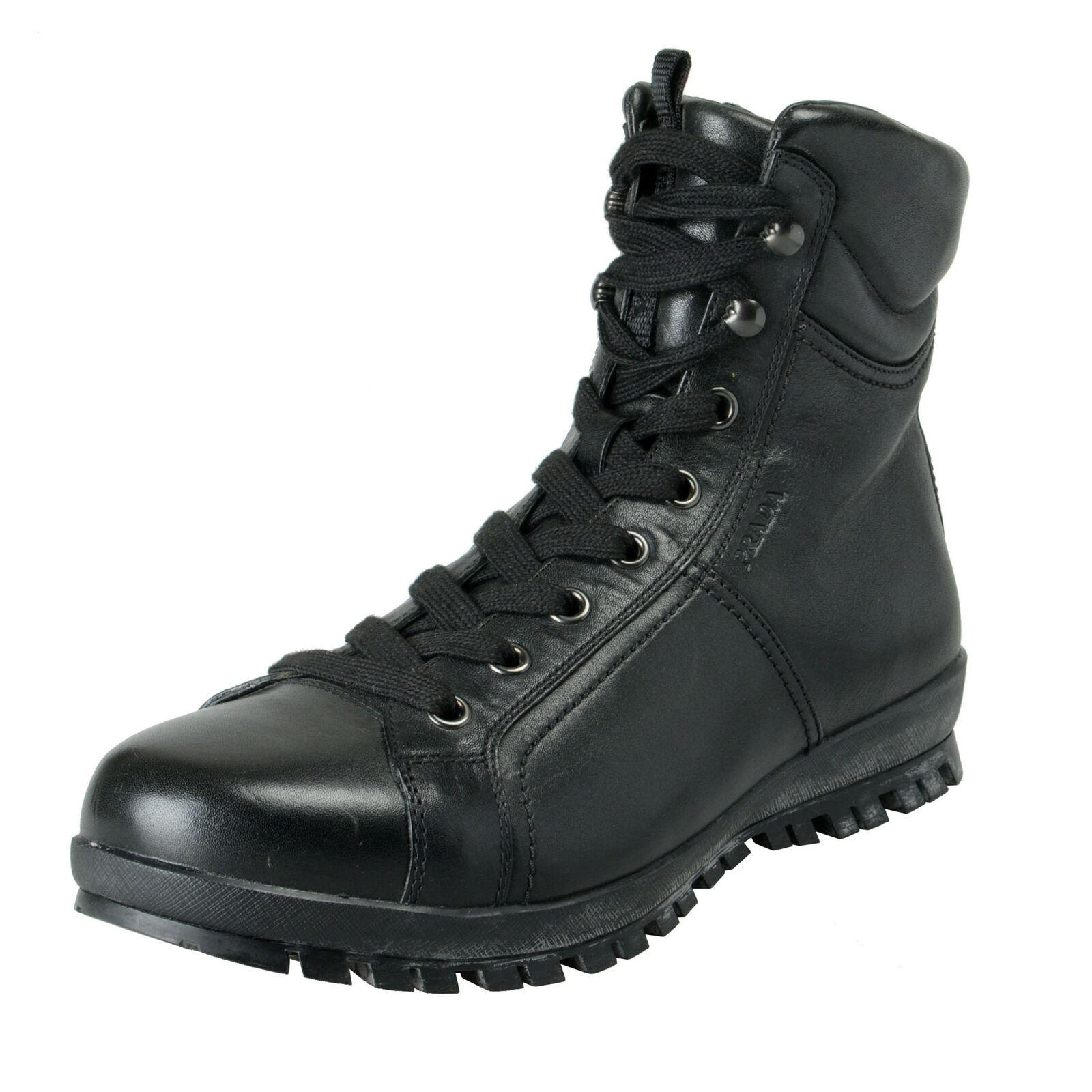 Prada Hombre Cuero Negro botas acordonadas al Tobillo Zapatos