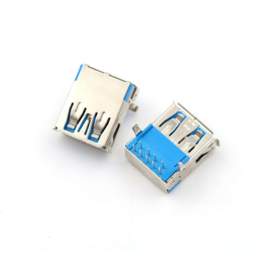 5Pcs USB 3.0 Type A Female Right Angle 9Pin DIP Socket PCB Solder Connector S QZ