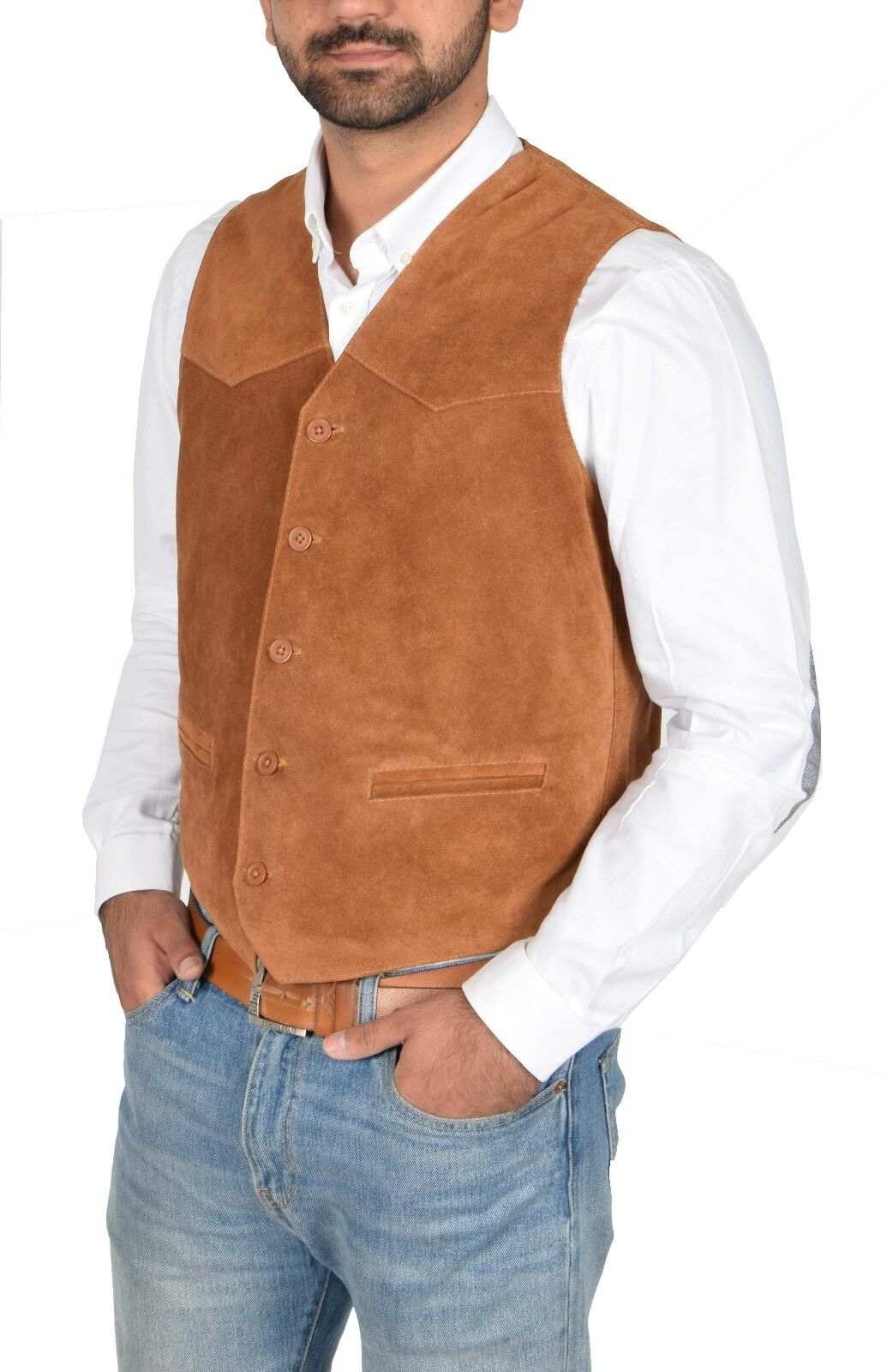 Mens Real Suede Leather Traditional Style Classic Waistcoat Gilet Vest Tan NEW