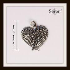 Pendientes de plata esterlina colgante de corazón de alas de ángel ~ Gratis Rápido P&P