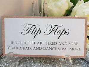 f38542d85e50 Flip Flops dancing shoes Glitter Wedding Sign silver rose gold pink ...
