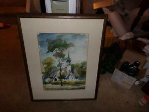 WATER-COLOR-OF-A-OLD-BARN-CHURCH-FRAMED-SIGNED-1964