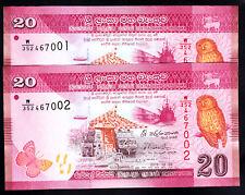 Sri Lanka 20 50 100 Rupees 3 Pcs Set 2015-2016 P-123-125 Birs Butterfly Unc