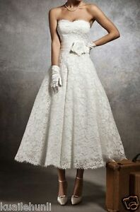 Vintage-White-Ivory-Lace-Tea-Length-Sweetheart-Wedding-dress-Size6-8-10-12-14-16